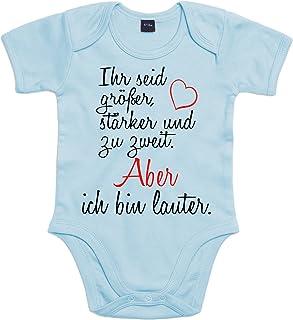 Mister Merchandise Mister Merchandise Baby Body Ihr seid größer, stärker und zu zweit. Ich bin lauter. Strampler liebevoll bedruckt Hellblau, 0-3