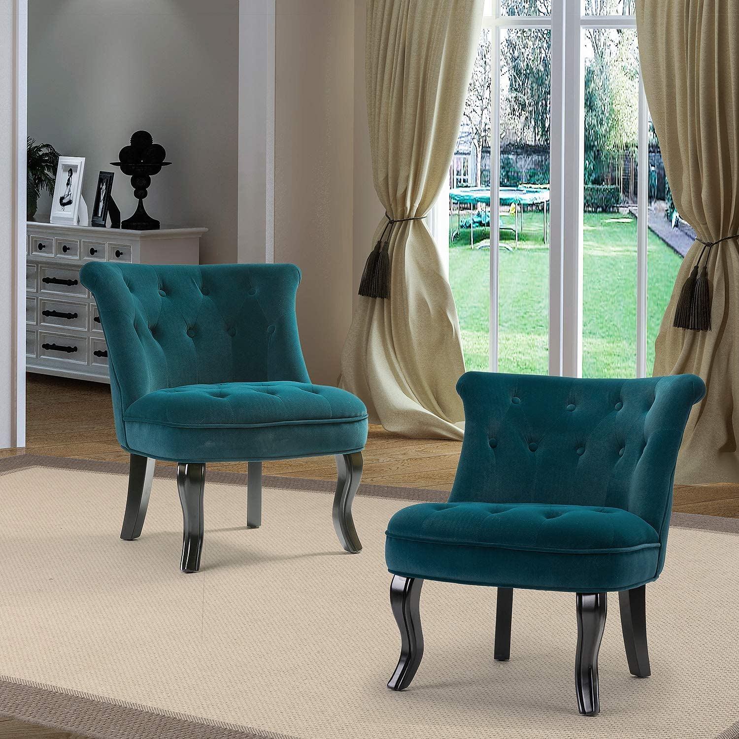 Aegean Blue Blue Upholstered Modern Chair//Jane Tufted Velvet Armless Accent Chair with Black Curved Legs