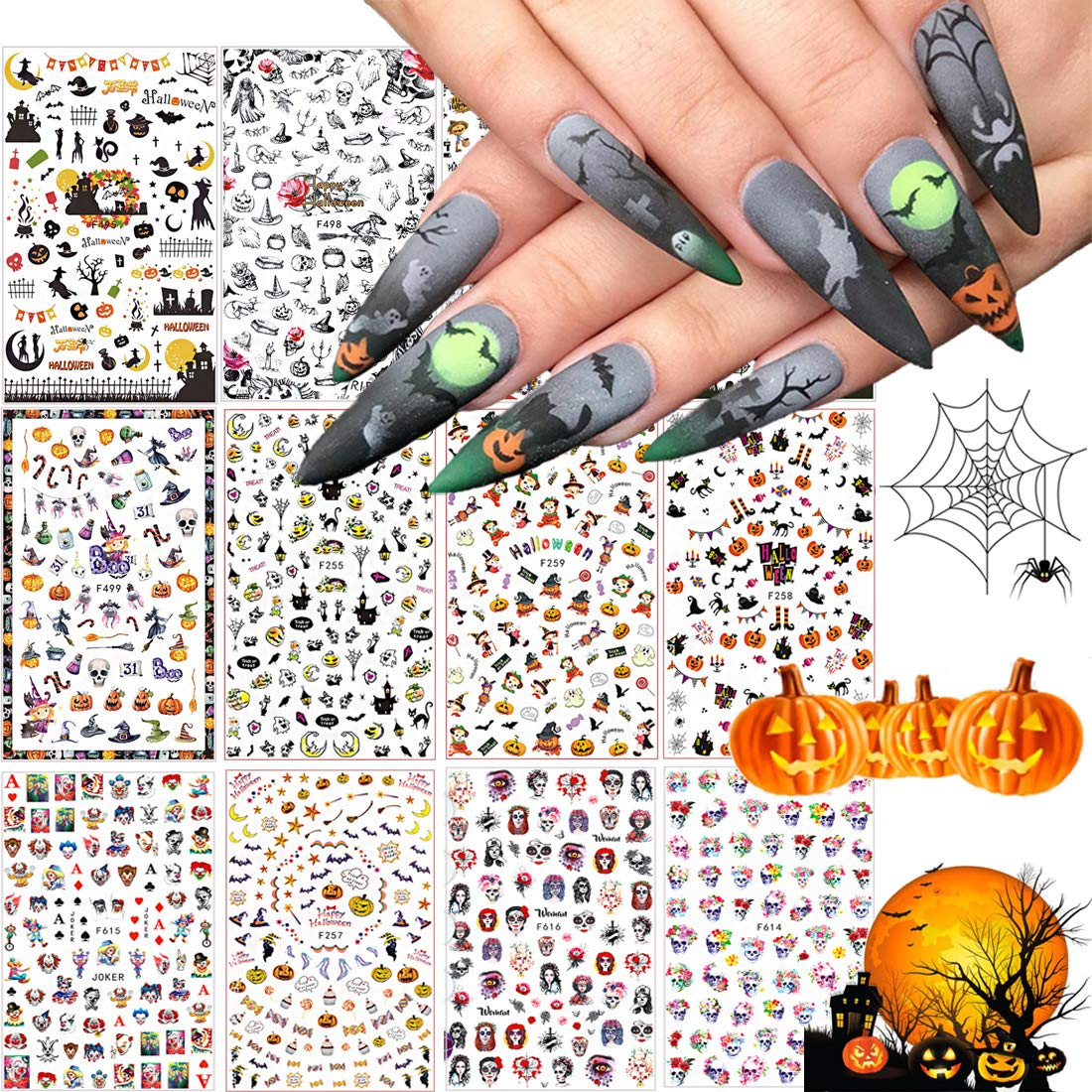 1500+ Patterns Halloween Nail Art New products world's highest quality popular Cheap bargain Sticker Decals Kalolary Self-