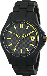 Ferrari Men's 0830156 Pit Crew Black Watch with Link Bracelet