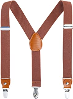 AWAYTR Kids Boys Adults Suspenders - 4 Sizes Sturdy Metal Clips Elastic Adjustable Suspender (31 inches (8 Years-5 Feet Tall),Brown)