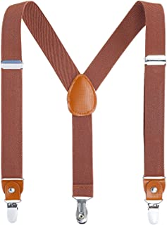 Kids Boys Adults Suspenders - 4 Sizes Sturdy Metal Clips...