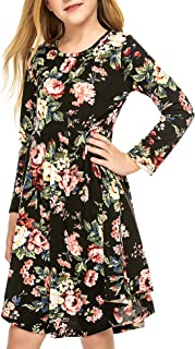 Arshiner Little Girls Long Sleeve A-Line Boho Dress Floral Print Midi Skater Dress