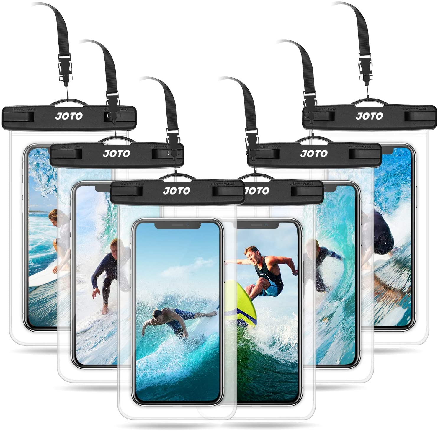 JOTO Universal Waterproof Pouch Cellphone Dry Bag Case for iPhone 13 Pro Max 13 Mini, 12 11 Pro Max Xs Max XR XS X 8 7 6S Plus, Galaxy S10 S9/S9+/S8/S8+/Note10+ 9, Pixel 4 XL up to 7