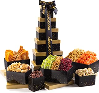Holiday Dried Fruit & Nut Gift Basket, Black Tower (12 Mix) - Thanksgiving, Christmas, Xmas Food Arrangement Platter, Care...
