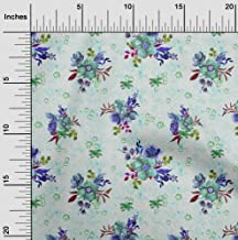 oneOone Velvet Dusty Green Fabric Leaves & Watercolor Flower Floral Quilting Supplies Print Sewing Fabric by The Yard 58 I...