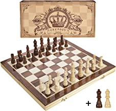 Amerous 15 Inches Magnetic Wooden Chess Set - 2 Extra Queens - Folding Board, Handmade Portable Travel Chess Board Game Se...