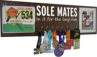 RunningontheWall Valentines Day Runners Medal Rack and Bib Hanger Valentines Gift for Running Lovers, Running Shoes Lover Sole Mates, in it for The Long Run Medal Rack and Race Bibs with Picture