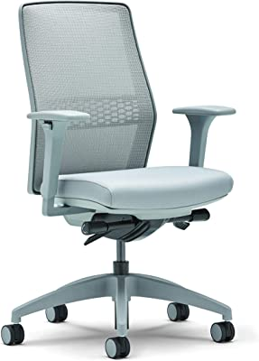 Allsteel Light Gray Lyric Task Chair with Lumbar, Synchro-Tilt, Mesh High-Back and 2-D Adjustable Arms