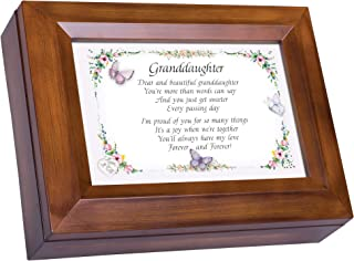 Cottage Garden Granddaughter Proud of You Woodgrain Digital Keepsake Music Box Plays The Dance