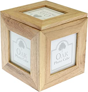 benerini Natural Oak Wooden 5 Picture Photo Picture Cube/Keepsake Box - 5 Pictures of 3 x 3 inches