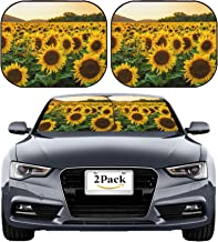 MSD Car Sun Shade Windshield Sunshade Universal Fit 2 Pack, Block Sun Glare, UV and Heat, Protect Car Interior, Image ID: Sunflower Field in Sunny Summer Day Image 23022946 Stain Resistanc