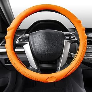 FH Group FH3003ORANGE Orange Steering Wheel Cover (Silicone W. Grip & Pattern Massaging grip Orange Color-Fit Most Car Truck Suv or Van)