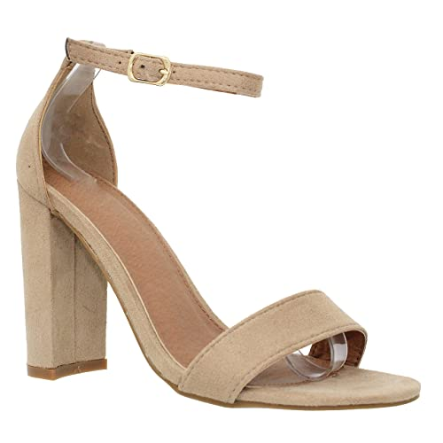 b8a66fbed9d MVE Shoes Women s Open Toe Chunky Heel Strappy Heeled Sandal