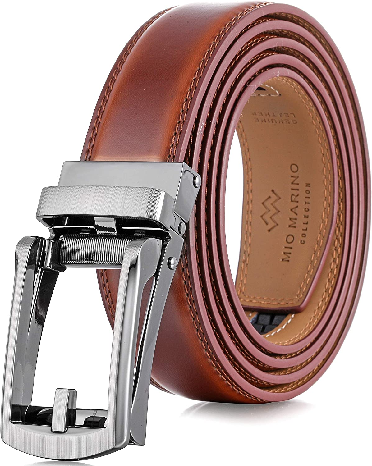 Marino Men's Comfort Click Ratchet Belt with Traditional Look - Genuine Leather with Linxx Adjustable Buckle - 1.38