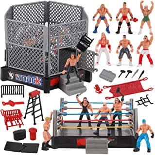 Liberty Imports 32-Piece Mini Wrestling Playset with Action Figures and Accessories - Kids Toy with Realistic Wrestlers - 2 Rings Included