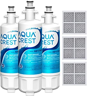 AQUACREST ADQ36006101 Refrigerator Water Filter and Air Filter, Replacement for LG LT700P, Kenmore 9690, 46-9690, ADQ36006101, ADQ36006102 and LT120F, 3 Pack, Package may vary