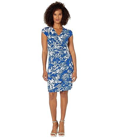 Tommy Bahama Floriana Short Sleeve Wrap Dress (Mazarine Blue) Women