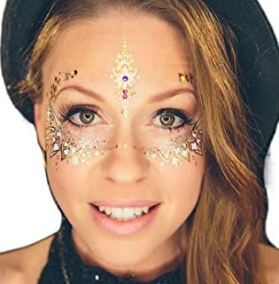 Variety! 6 Pages Metallic Temporary Tattoos by Golden Ratio Tats, Gold and White Masquerade Tattoos, Festival Face Paint.