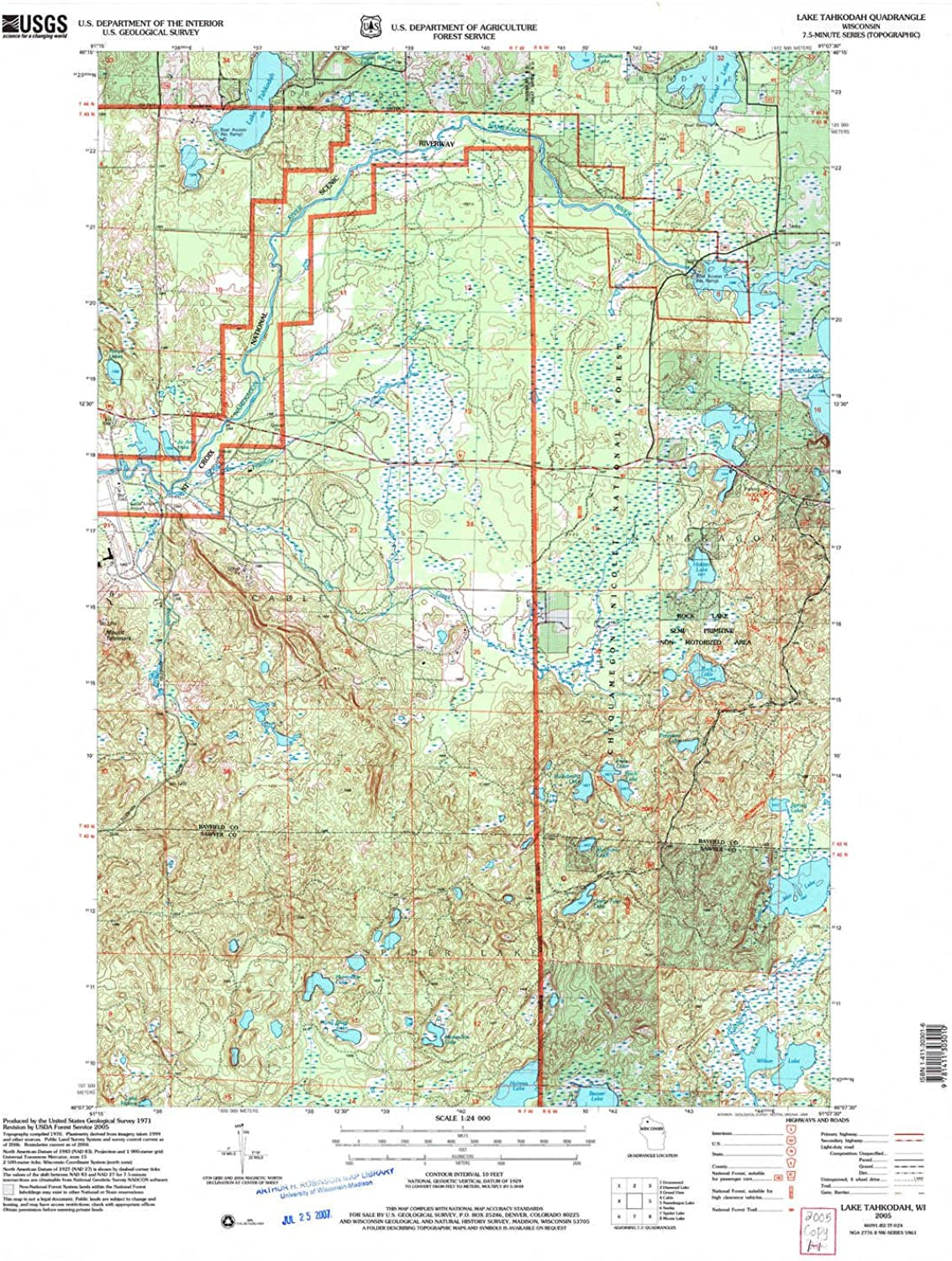 Lake Tahkodah WI topo map, 1 24000 Scale, 7.5 X 7.5 Minute, Historical, 2005, Updated 2006, 28.4 x 22.1 in