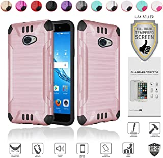 Huawei Ascend XT2 Case with Full Glass Screen Protector (2nd Version Only), Elate 4G Case, H1711 Case, Metallic Brushed Design Slim Hybrid [Shockproof] Armor Defender Case Cover (Rose Gold)