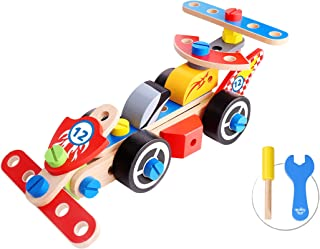 Tooky Toy Race Cars Made of Wood, Suitable for Educational Purposes, Fostering Creativity and Proper Imagination Skills in Your Kid, Appropriate Entertainment Tool, Recommended for Kids