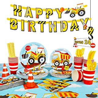 Decorlife Construction Birthday Party Supplies Serves 24, Cute Kids Truck Party Decorations, Complete Pack Include Tablecl...