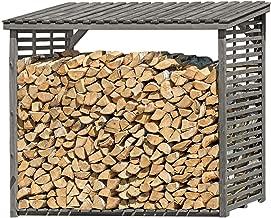 Kaminholzregal Kaminholzständer Brennholzregal Holzstapelhilfe innen außen grau