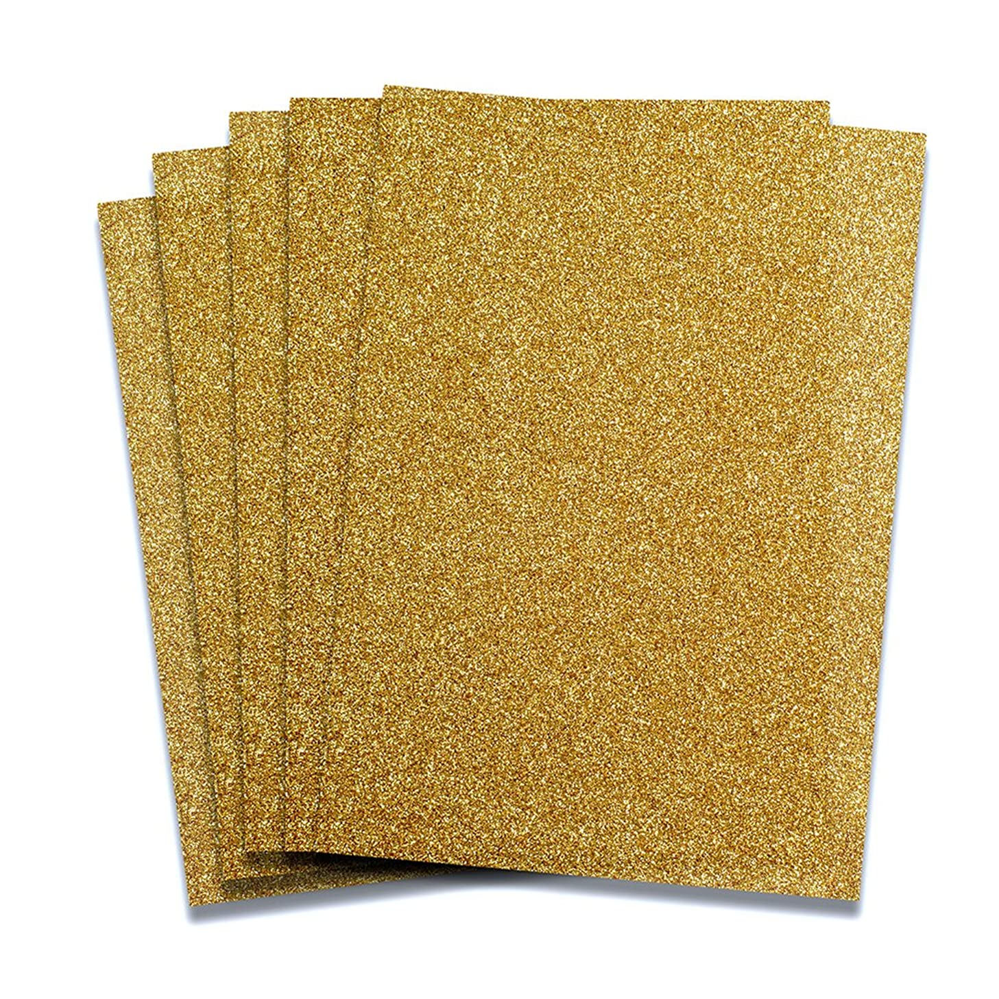 Rozzy Crafts Gold Glitter Heat Transfer Vinyl HTV - 5 Sheets Each 10 in x 12 in HTV for Cricut and Silhouette