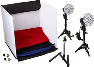 Polaroid Pro Table Top Photo Studio Kit with 2 LED Lights, 2 Light Stands, 1 Tripod, 4 Color Backdrops, 3 Diffuser Screens, 1 Carry Bag