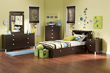 South Shore Spark Mates Bed with Drawers Chocolate, Contemporary