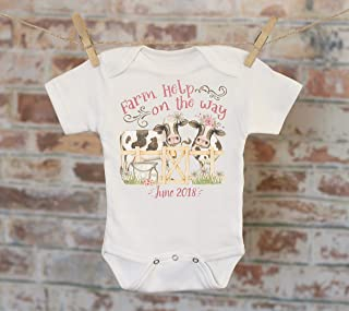 Farm Help On The Way Customized Onesie - Custom Baby Shower Gift Customized Country Style Pregnancy Reveal Bodysuit
