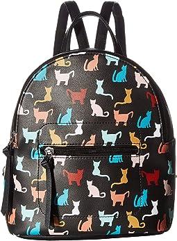 Multi Cat Print Mini Backpack