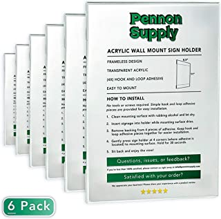 """Acrylic Wall Mount Sign Holder with Hook & Loop Adhesive (6 Pack) 