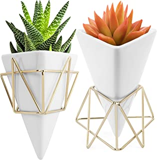 Succulent Wall Planter Geometric - Triangle White/Gold Ceramic Decor Set of 2 - Modern Desktop Stand with Vase for Live Pl...