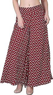 Fraulein Women's/Girls Palazzos Maroon Zig Zag Print Soft Crepe Flared Bottom Trendy and Stylish Palazzos with One Pocket ...