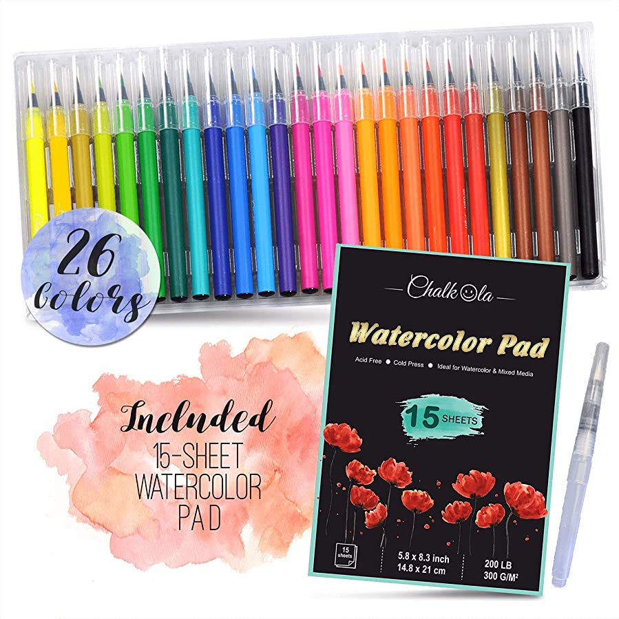 Watercolor Brush Pens   Set of 26 with 15-Sheet Paper Painting Pad with Water Brush   Water Color Paint Markers with Real Flexible Soft Nibs   100% Non-Toxic   Paint Pens for Kids and Adults
