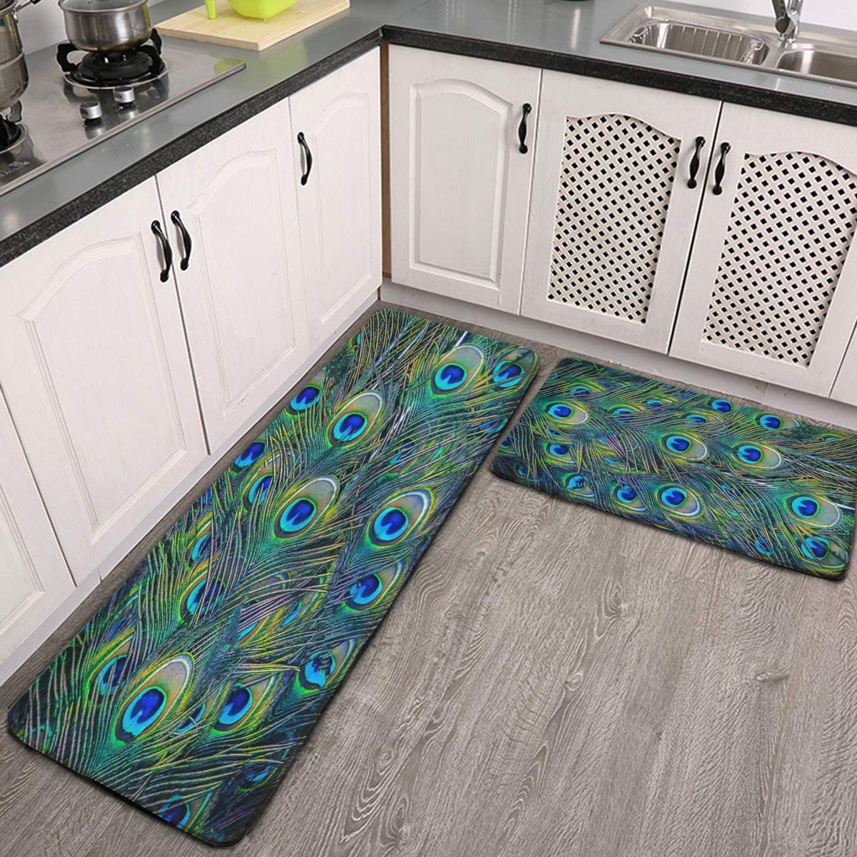 Kitchen Rugs Set Of 2 Beautiful Green S Colorful Sale SALE% OFF Feather Max 44% OFF Peacock