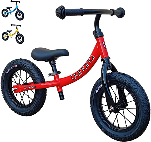 "Banana GT Balance Bike - 12"" Alloy Wheels Air Tires for Girls and Boys 2, 3, 4, 5 Year Olds"