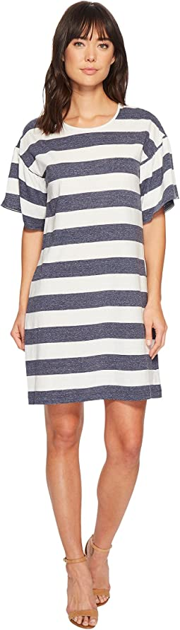 Modern Bold Striped Linen T-Shirt Dress
