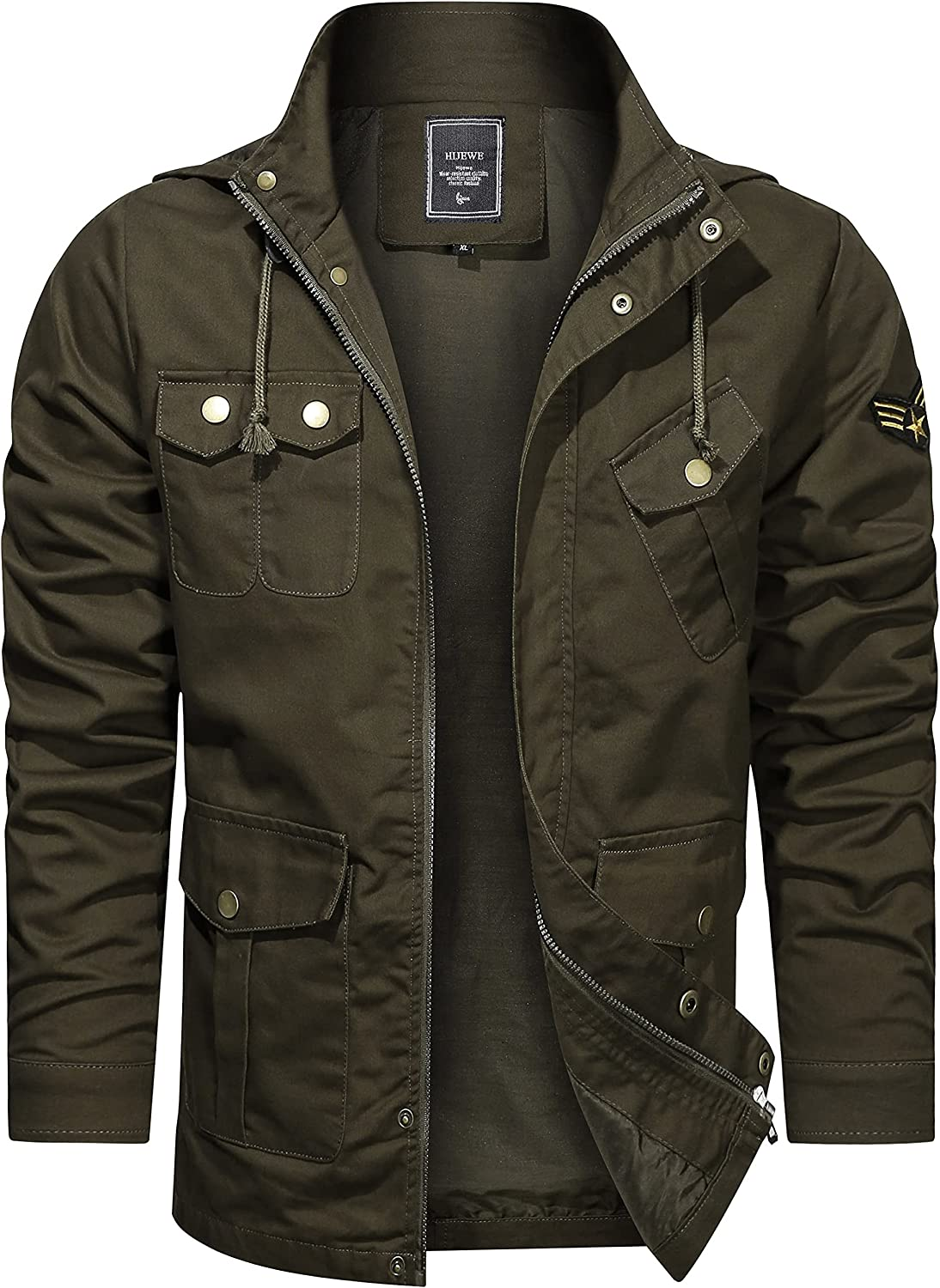 Be super welcome Bombing free shipping Men's Cotton Military Lightweight Jackets Spring Hood And With A
