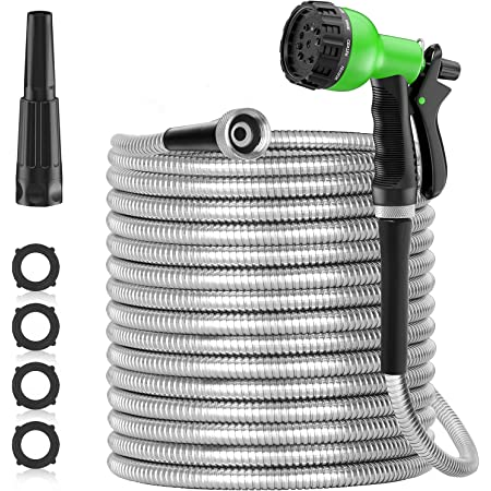 SPECILITE 50ft 304 Stainless Steel Metal Garden Hose, Heavy Duty Water Hoses with 10 Pattern Spray Nozzle for Yard, Outdoor - Flexible, Never Kink & Tangle, Puncture Resistant