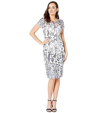 Adrianna Papell Growing Garden Lace Sheath Dress (Navy Multi) Women