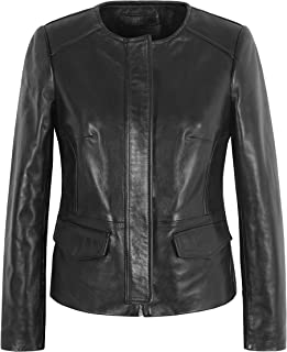 Carrie CH Hoxton WOMEN SLIM Jacket Nero vera pelle CASUAL Giacca corta classica senza colletto 4642