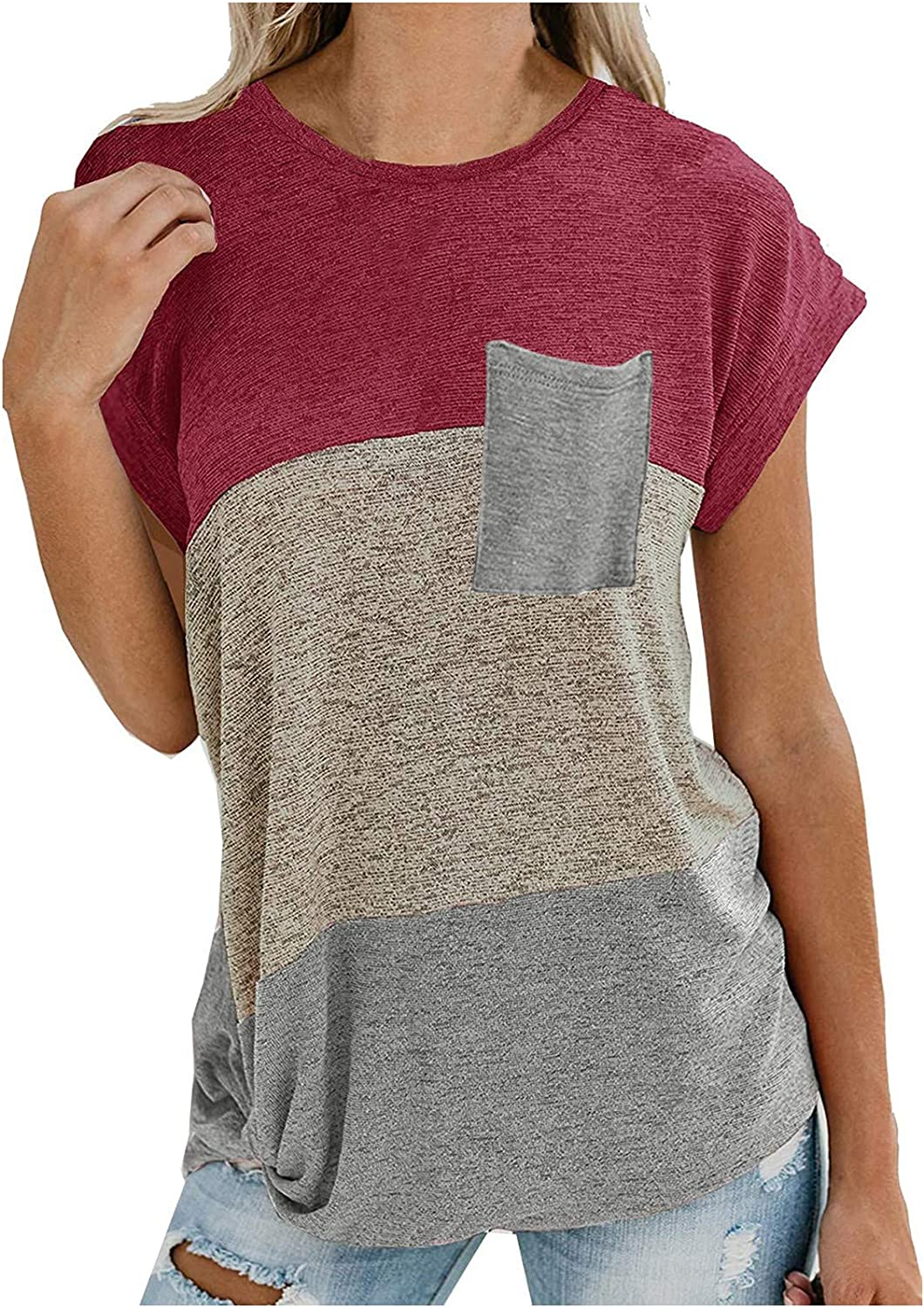 FABIURT Womens Short Sleeve Tops,Women Fashion Color Block Printed Twsit Knot T Shirts Summer Casual Loose Blouse Tops