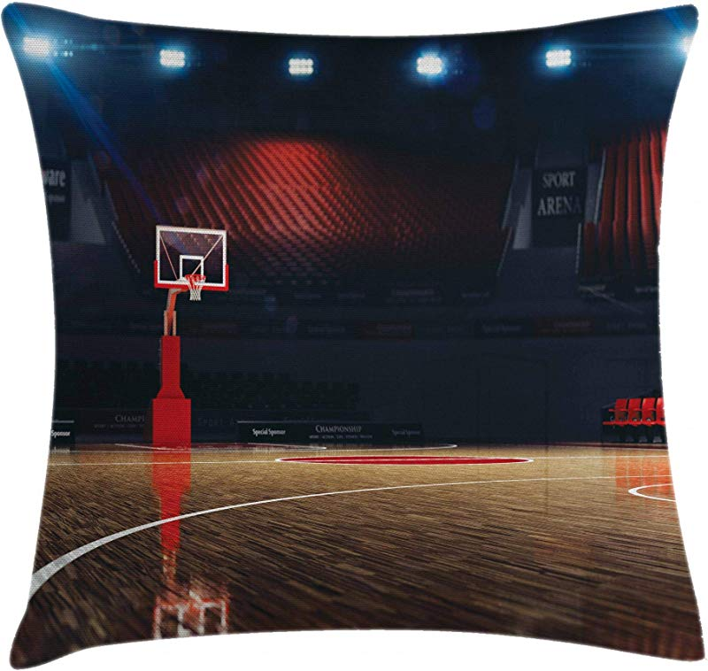 Ambesonne Basketball Throw Pillow Cushion Cover Picture Of Empty Basketball Court Sport Arena With Wood Floor Print Decorative Square Accent Pillow Case 16 X 16 Brown Black