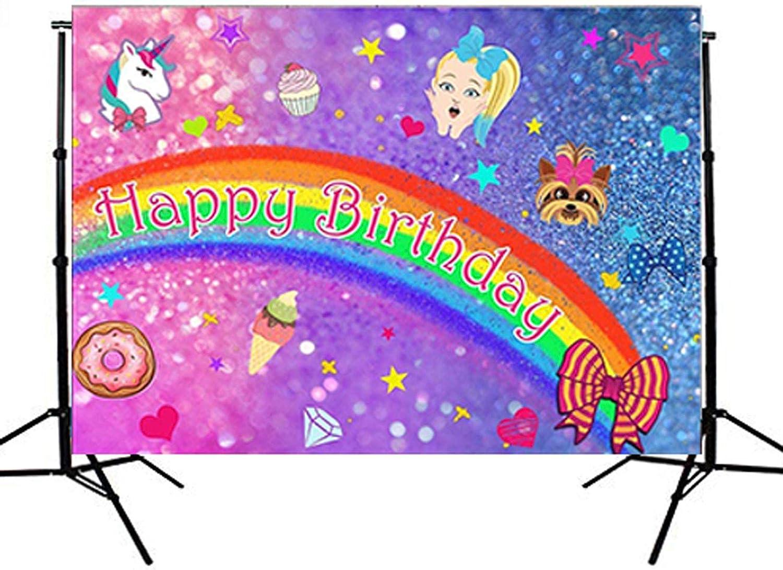 Background Happy Birthday 5x3ft Happy Birthday Backdrop Cute Cartoon Unicorn Donut Grow Up Birthday Party Colorful Dots Girls Children Kids Family Decor Background Portrait Photography Shoot