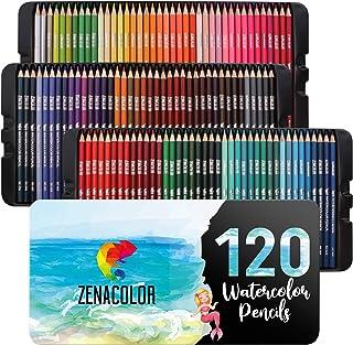 120 Aquarellstifte Zenacolor, Nummeriert – Set mit wasservermalbaren Buntstiften..