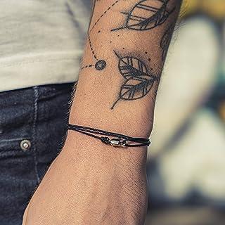Made by Nami Dezentes Armband für Herren und Damen - edles Wickelarmband für Männer - Minimalistischer Schmuck - 100% wasserfest & stufenlos verstellbar - Karabiner-Haken Armband - Silber Schwarz