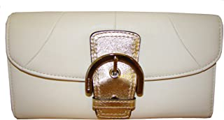 Coach Soho Leather Buckle Slim Envelope Clutch Wallet 45622 White/Gold